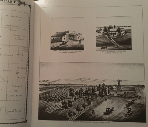 An inside page of the Historical Atlas showing Map and drawings of properties